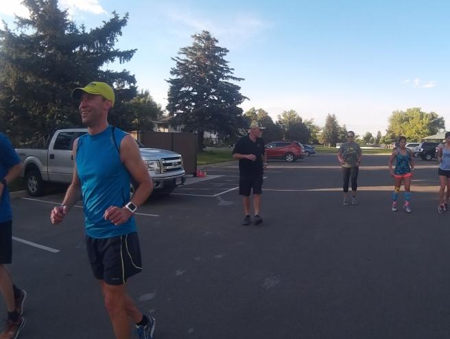 Runners doing dynamic drills